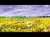 How to paint a Field of Flowers Acrylic Landscape painting Lesson.