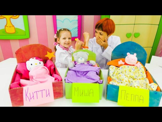 Игры для детей: Видео с игрушками Китти, Пеппа и Миша. Доктор Ева и Маша (Капуки кануки)