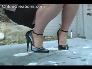 Chloe Creations heels stuck in gum, glue, tar