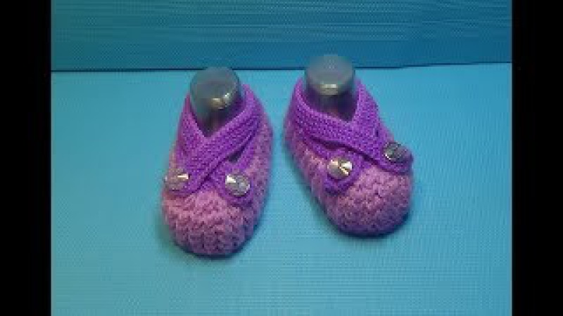 Вязание спицами пинетки -сандали 168
