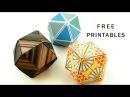 フリーデザイン 折り紙変身キューブ Printable Origami Transforming Cubes