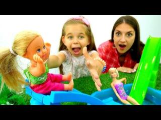 Видео #куклы Супер ГОРКИ! АКВАПАРК для Штеффи и #куклаБарби 🏊 Игрушки #Barbie Игры ...
