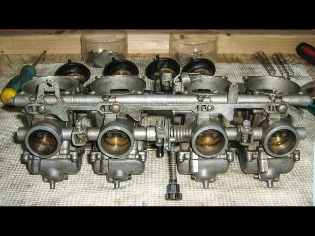 Таймлапс чистки карбюраторов Kawasaki ZZR 400
