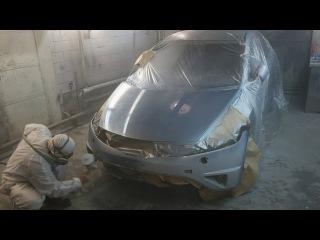 Кузовной ремонт 3 Восстановления после ДТП Хонда цивик часть 3 Грунтуем и красим