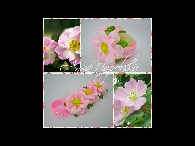 Прикраса на гульку Шипшинка Резинка на пучок Шиповник Headband with roses kanzashi