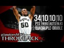 David Robinson Quadruple Double 1994 02 17 vs Pistons 34 Pts 10 Rebs 10 Assists 10 Blks