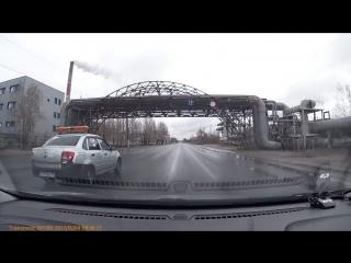 ГБР через двойную сплошную на красный. Северодвинск.