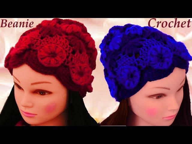 Aprende a tejer fácil con Gancho Crochet un gorro con hojas flores en relieve