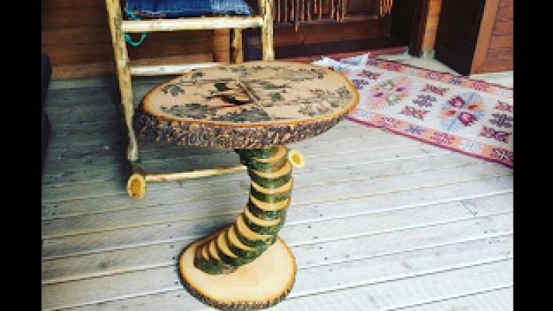 Odunlardan sıradışı doğa resimli sehpa yapımı