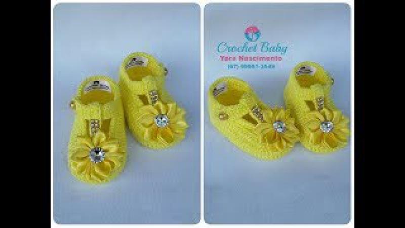 Sapatinho CARLA de crochê - Tamanho 09 cm - Crochet Baby Yara Nascimento