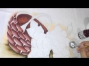 Pintura em tecido. Aula completa, cesta, rosa, folha.