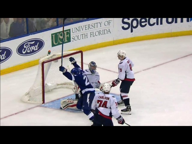 Kucherov's shot goes off Point and in to give Lightning OT win