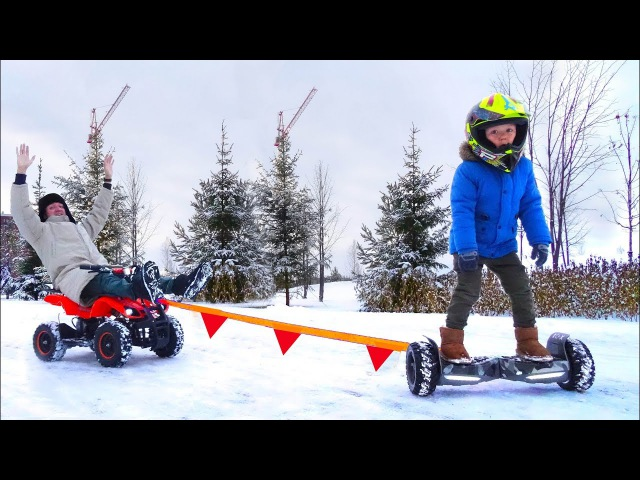 Bad Baby accident Car! Stuck in the SNOW! Ride on POWER WHEEL GyroScooter for kids