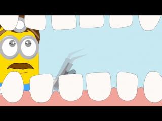 У миньона девочки болят зубы, в больнице врач стоматолог делает укол, лечит зуб. Мультик для детей