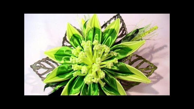 Зажим с Цветком Канзаши / Kanzashi Flower Hair Clip / New Kanzashi Tutorial / DIY Kanzashi for Girls