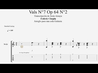 Vals Op 64 N°2 - Federic Chopin - en Tablatura Guitarra Solista...