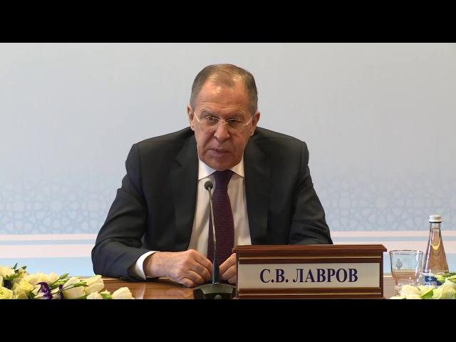 Пресс конференция С В Лаврова по итогам заседания СМИД СНГ в Ташкенте 7 апреля 201