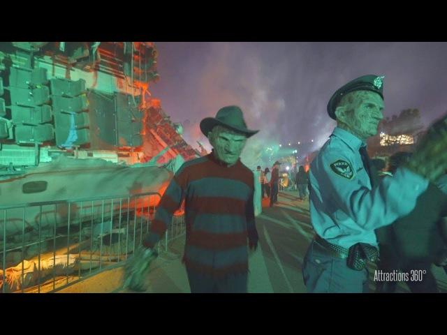 4K Chucky Freddy Jason LeatherFace on Studio Tram Halloween Horror Nights