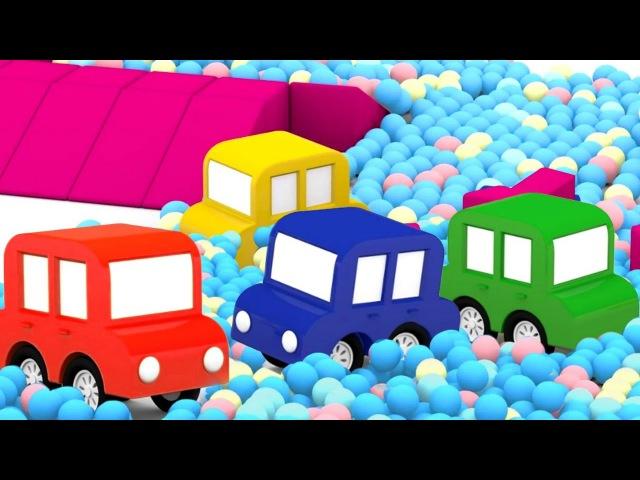 Compilation de dessins animés éducatifs pour enfants de 4 voitures colorées