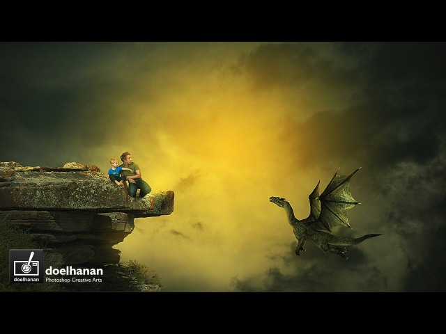 Father, Son, and Dragon - Photoshop Manipulation