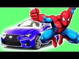 Spiderman flies on the car with superheroes. Learn Colors for kids and baby. Nursery Rhymes Fun Song