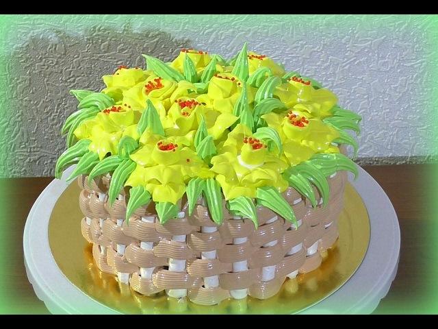 Кремовый торт корзина с цветами Как сделать торт корзину цветов Cream cake basket with flowers