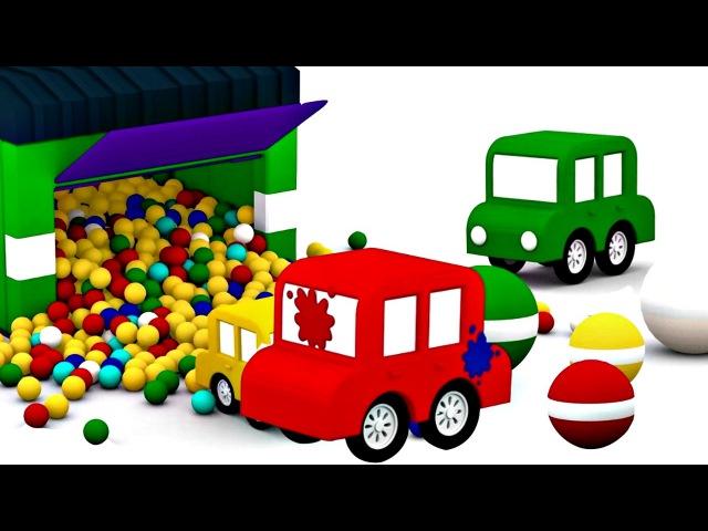 Dessin animé en français pour enfants de 4 voitures jeu de lance-pierre