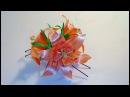 Лилия из лент на шпильке / Проклеенная лента / Lily from satin ribbon