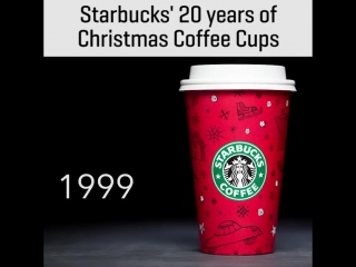 Starbucks christmas cup over the last 20 years 🎅