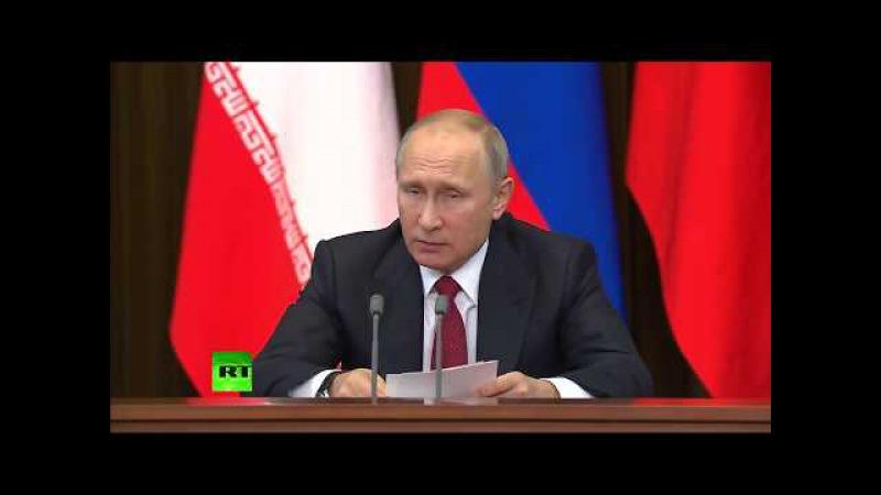 Conférence de presse trilatérale après la rencontre de Poutine avec Erdogan et Rohani
