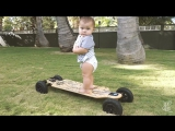 BABY RIDES AN ELECTRIC SKATEBOARD