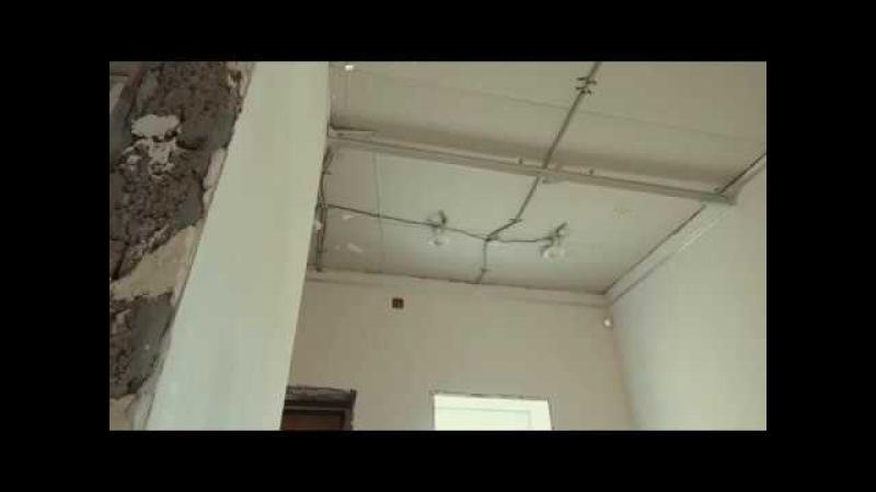 Монтаж двухуровневого натяжного потолка с фотопечатью