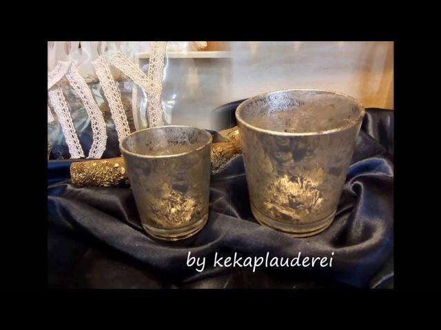 DIYEdle DEKO-Gläser in BAUERNSILBER, Maya Gold gestalten.2.Technik Upcycling