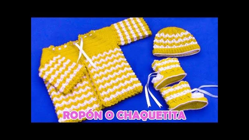 Ropón o chaquetita para bebé de 4 a 5 meses tejido a crochet paso a paso
