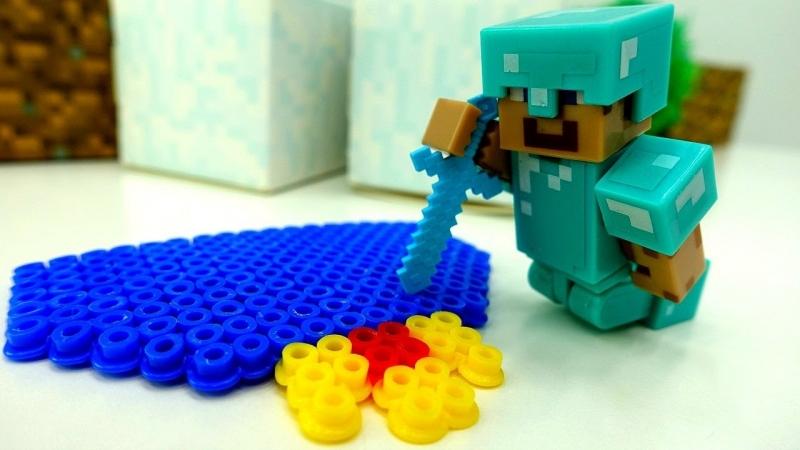 Майнкрафт видео. ИгроБой Глеб и Стив vs Король Слизней из Террария ! Обзор игры и ЛЕГО Minecraft