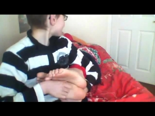Two boys tickle each other's feet - pt 1
