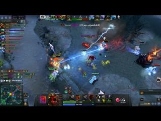 Team Secret fight, MidOne triple kill