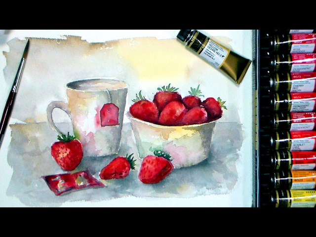 Tea Time with Strawberries Watercolor Full Real Time Tutorial