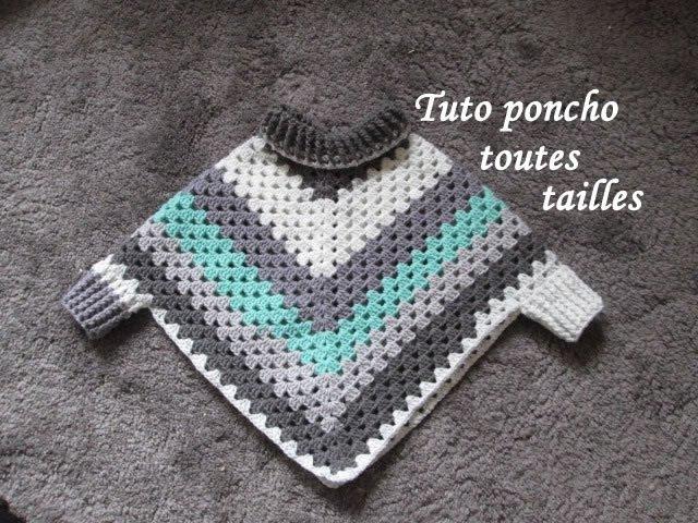 TUTO PONCHO GRANNY CROCHET TOUTES TAILLES Easy granny poncho TUTORIAL PONCHO GRANNY DE GANCHILLO
