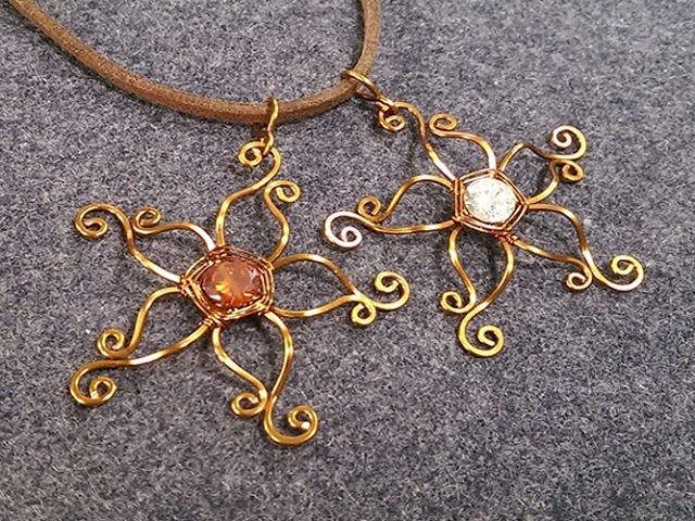 Cute Flower pendant - How to make wire jewelry 213