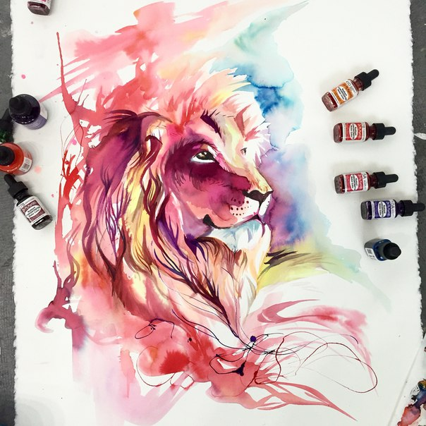 Потрясающие картины животных в технике
