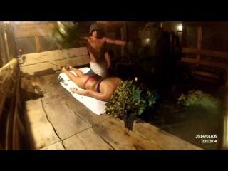 Парение девушки в бане. Скрытая камера