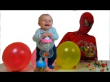 Learn Colors with M&ampM Candy for Children I Surprise Eggs &amp Nursery Rhymes vs Spiderman in real life