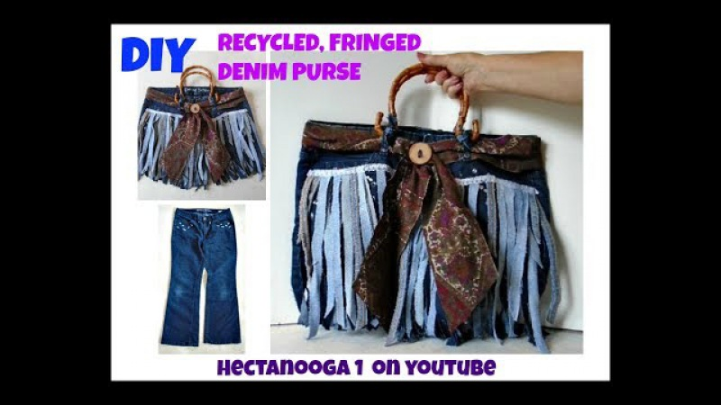 FRINGED BOHO RECYCLED DENIM JEANS PURSE Back to school satchel big denim bag Sewing for beginners