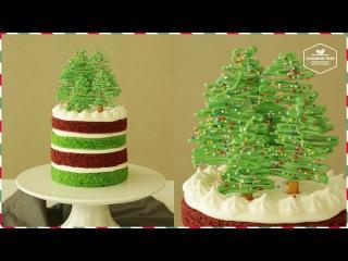 ( https://vk.com/lakomkavk) Новогодние елочки из шоколада. How to make Christmas yogurt cream cake.