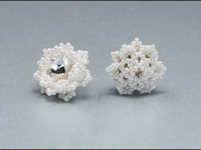 How to bezel 10mm rivoli - Snowflakes Earrings - Free Beading Tutorial by Sidonia
