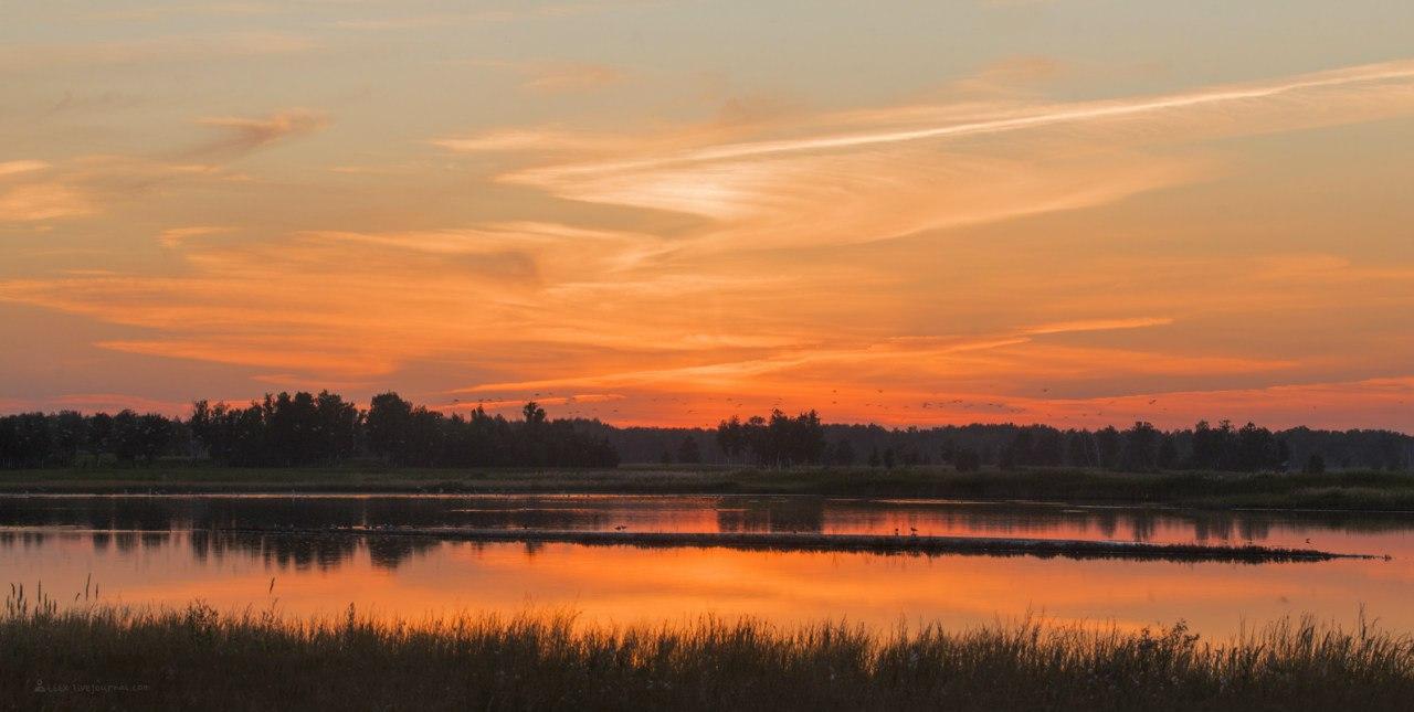 Озеро,Катай, закат