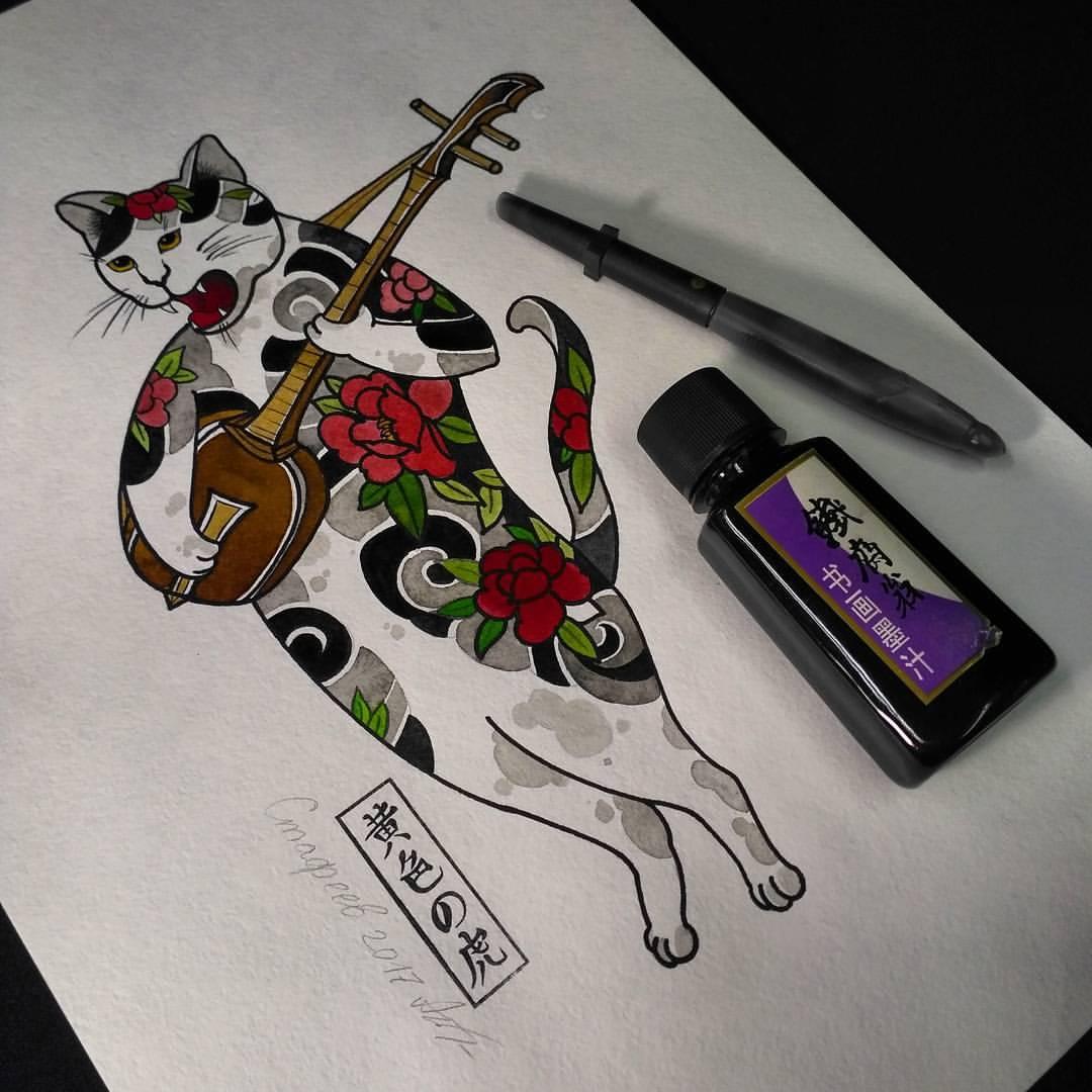 Свободный эскиз «Японский кот». Мастер Алексей Стафеев