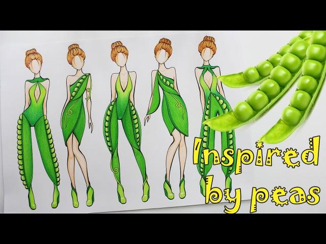 РИСУЕМ ЭСКИЗЫ ОДЕЖДЫ, вдохновение горохом Fashion illustration, speedpaint