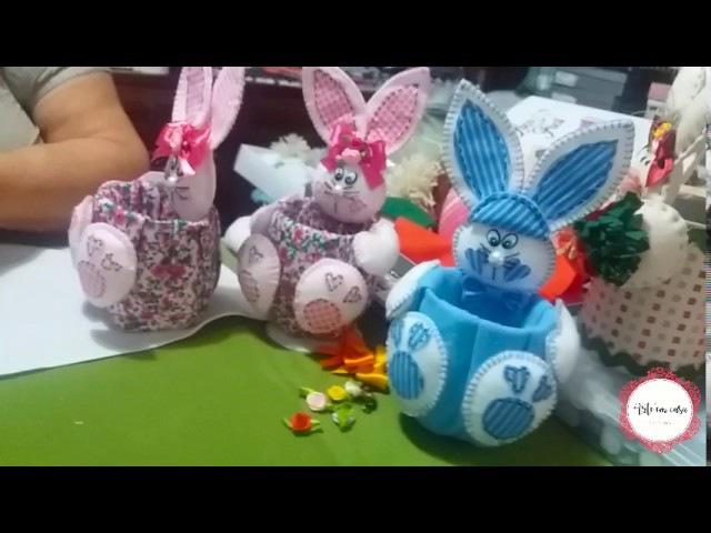 Coelhinhos da Páscoa feitos com garrafa pet e feltro - Parte 2